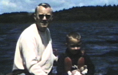 1950 Park Rapids, MN Miles and Morrie in boat on Lake Mantrap.