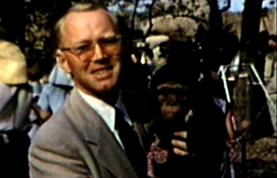 1949 Forest Park Zoo, St. Louis, MO Morrie with pet monkey!