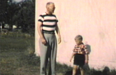 1949 Park Rapids, MN Morrie and Miles walk around water tower.